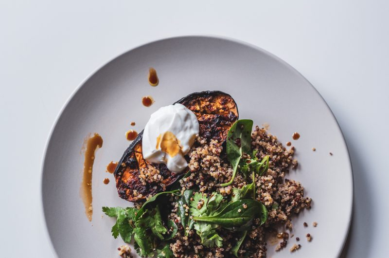 Roasted Eggplant with Spinach Quinoa Salad