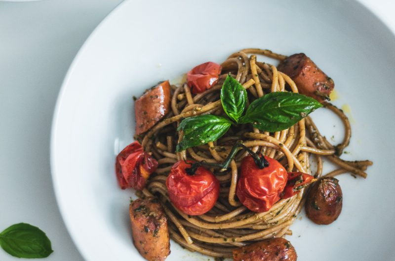 Roasted Tomato Pesto Chorizo Pasta