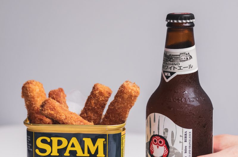 Crunchy Spam Fries with beer