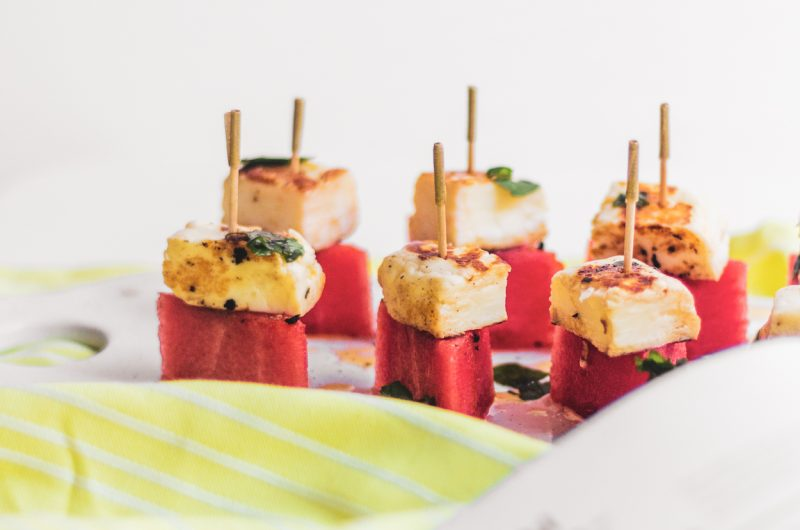 Watermelon Bites with Halloumi