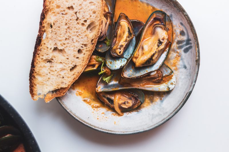 Coconut Red Curry Mussels